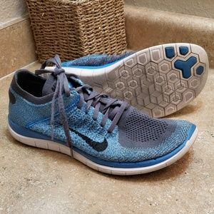 Nike Free 4.0 FlyKnit Blue Gray Sneaker Shoes 12